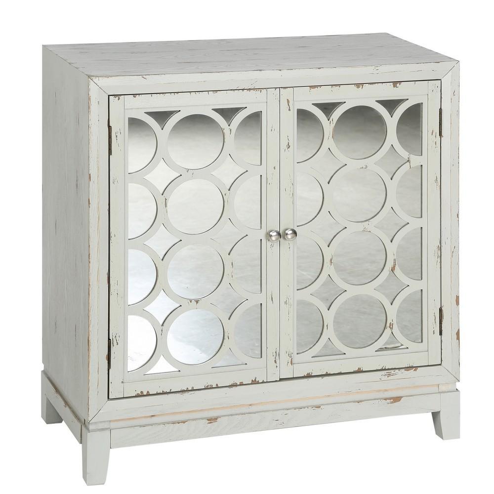 Mueble auxiliar blanco rozado puertas caladas espejo for Mueble auxiliar entrada