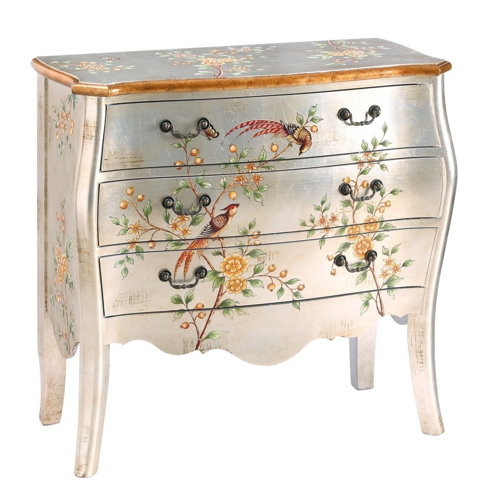 C moda plata pintada con p jaros - Muebles pintados en plata ...