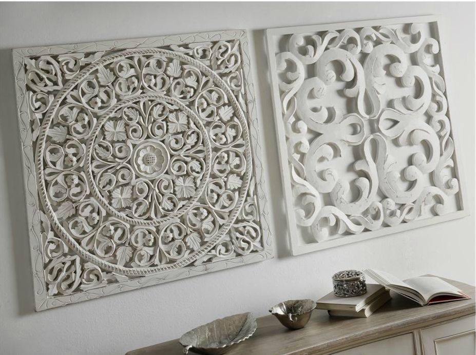 Panel tallado en madera blanca - Paneles decorativos madera tallada ...