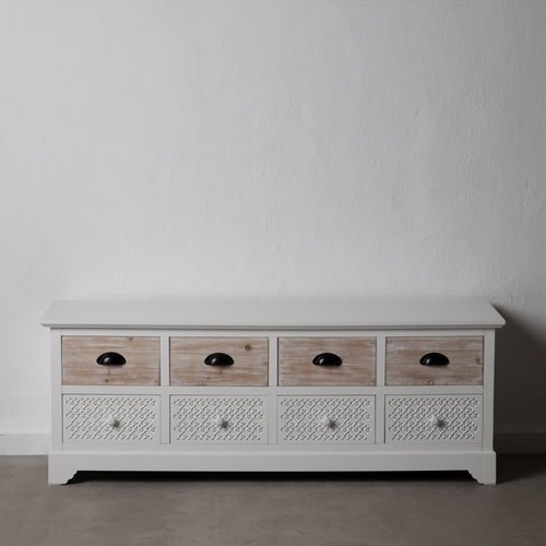 Mueble auxiliar blanco y madera natural