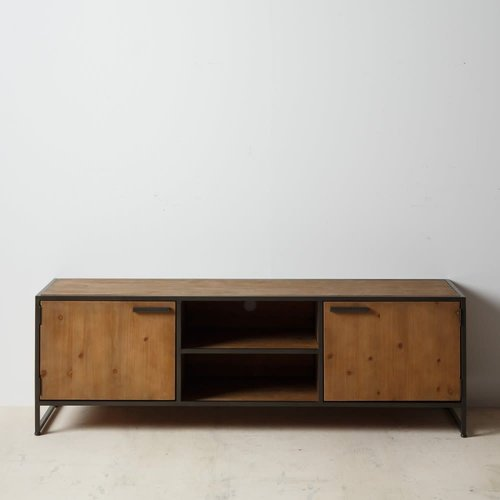 Mueble tv madera industrial natural